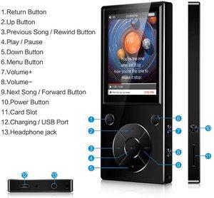 Image 3 - Bluetooth4.2 MP3 Nghe Nhạc Loa Lắp Sẵn Với Màn Hình TFT 2.4 Inch Âm Thanh Lossless Người Chơi, hỗ Trợ Thẻ Nhớ SD Lên Đến 128GB