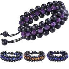 SUNYIK 8mm Handcrafted Strand Three-Layers Crystal Adjustable Nylon Bracelet,Healing Reiki Stone Friendship Chakra Bracelets