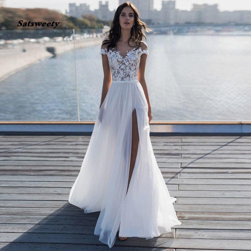 Sexy pure encolure dégagée manches courtes Robe de mariée en Tulle avec fente latérale dentelle applicuque pas cher robes de mariée Boho Robe Mariage