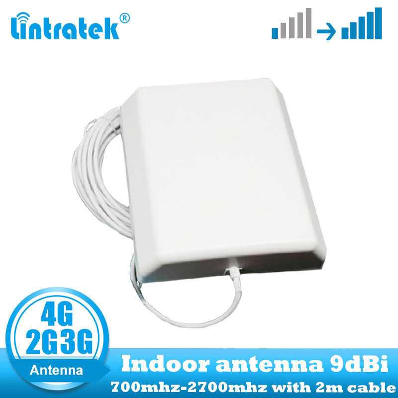Antena interna da parede do repetidor 4g lte da antena 4g lte de lintratek 9dbi 700-2700 mhz 2g 3g 4g 4g antena interna do painel