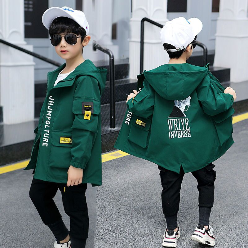 Куртка EACHIN для мальчиков, детская модная осенняя куртка, одежда с буквенным принтом, Детская тонкая куртка, верхняя одежда, детское пальто
