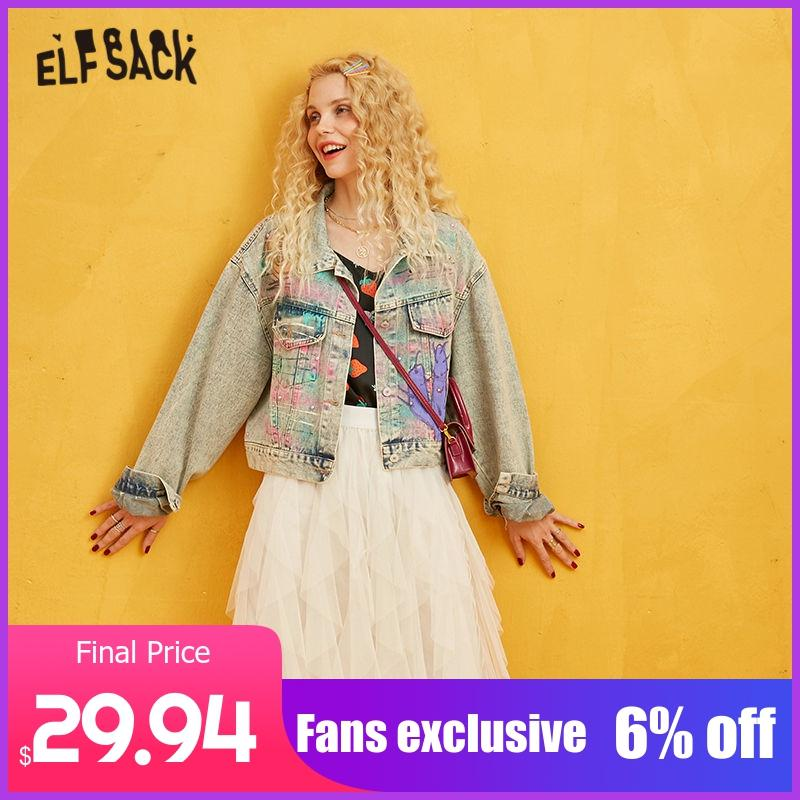 ELFSACK Hand Painted Sequins Casual Women Jacket 2019 Autumn Pocket Special Korean Female Coats