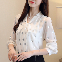 Korean Fashion Chiffon Women Blouses Lantern Sleeve White Women Shirts Plus Size XXL Blusas Femininas Elegante Ladies Tops