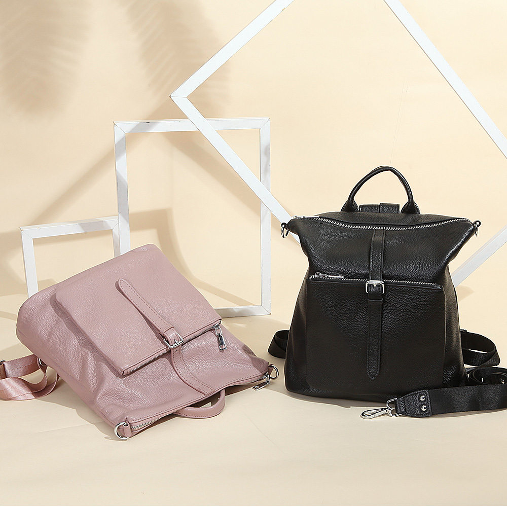 Zency 100% Genuine Leather Soft Skin Fashion Women Backpack Black Travel Bags Simple Lady Knapsack Preppy Style Girl's Schoolbag