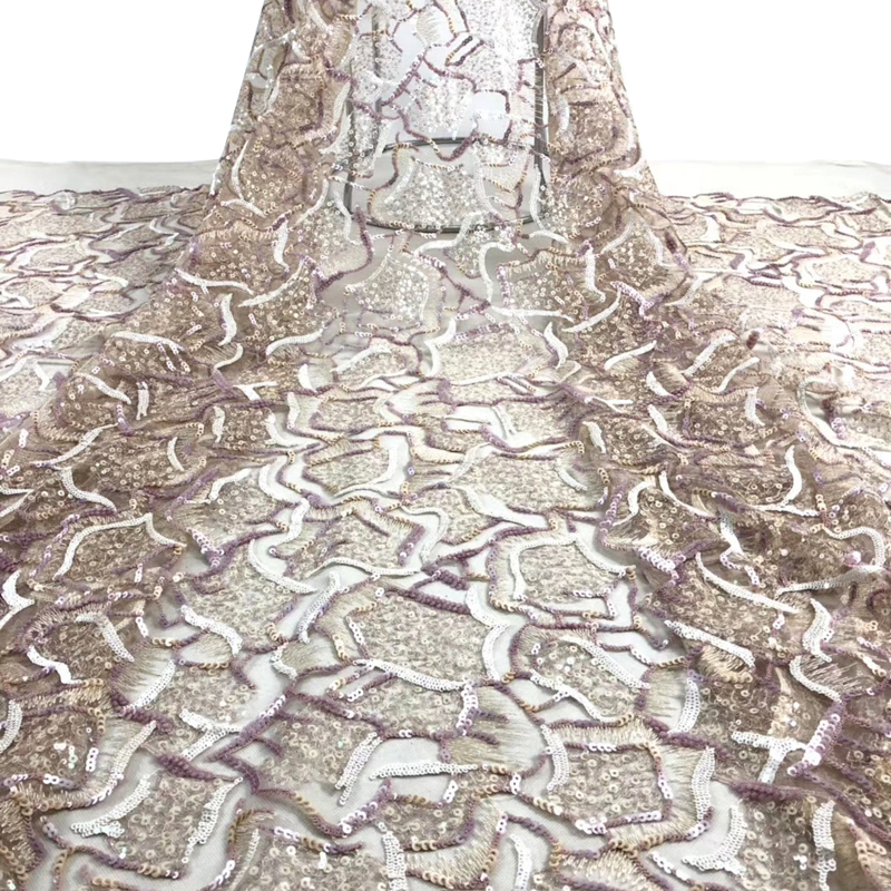 Fashion African Lace Fabric Wonderful Pattern Embroidered With Sequin Top Quality Tulle Lace For Sexy Women Dress Tissu Dentelle