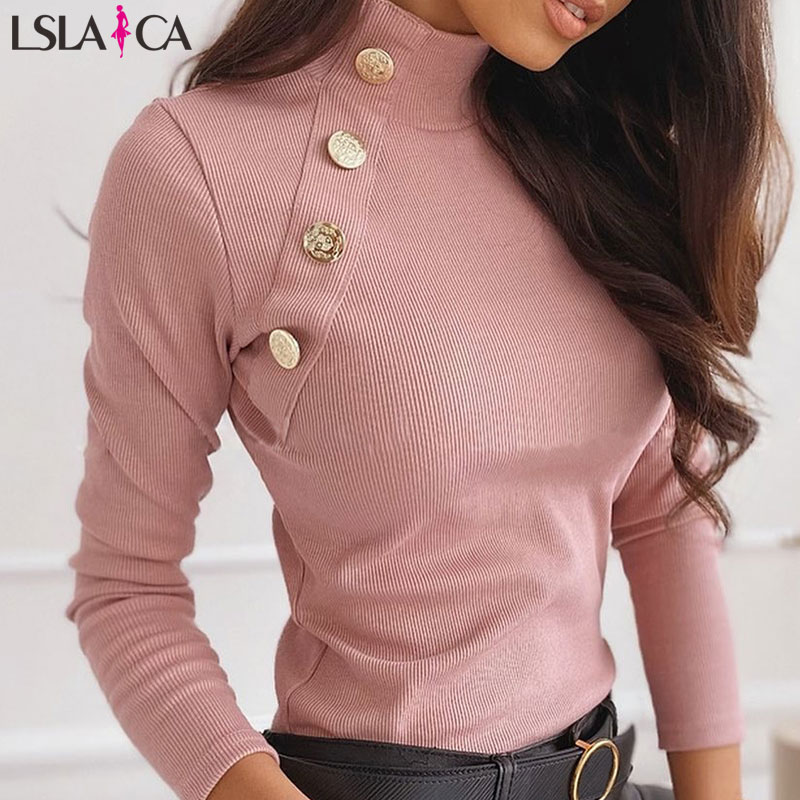 Kinted Sweater Women Long Sleeve Button Detail Solid Ribbed Design Sweater Turtlneck Casual Office Bottming Winter Sweater Women