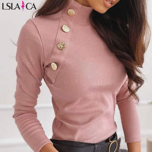 Sweater Women Button-Detail Kinted Long-Sleeve Ribbed-Design Turtlneck Casual Solid Office