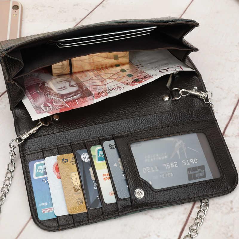 Timsah Deri Kadın Cüzdan Çok Fonksiyonlu Bayan Debriyaj Cüzdan Altın Rengi Çantalar Femme Billetera kart tutucu Telefonu Çanta
