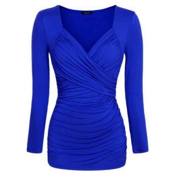 여자 긴 소매 티셔츠 크로스 pleated 디자인 패치 워크 v-목 ol 솔리드 슬림 캐주얼, 사무실 등 셔츠 여성