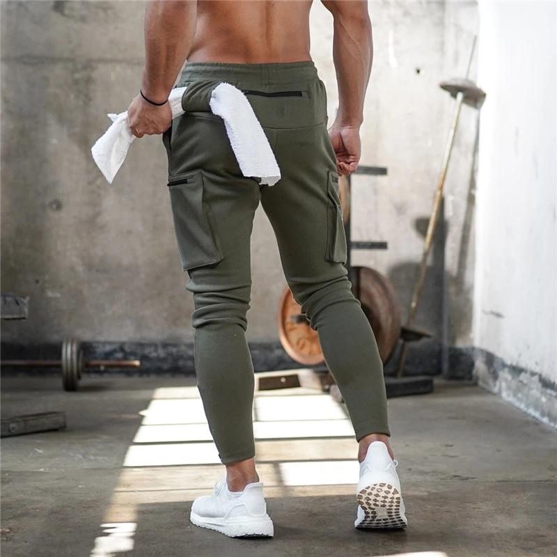 Mens Jogger Sweatpants Man Gyms Workout Fitness Cotton Trousers Male Casual Fashion Skinny Track Pants Zipper Design Pants