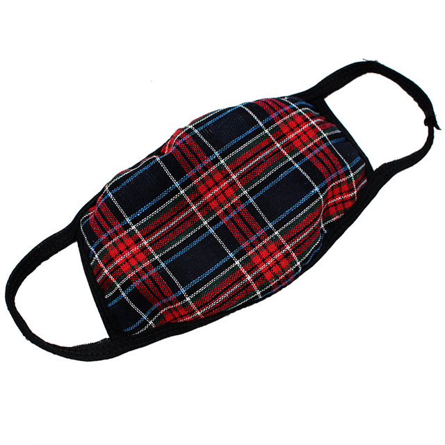 Checkered striped Cotton mouth Mask anti dust mask Windproof Mouth-muffle bacteria proof Flu face mask men women 2
