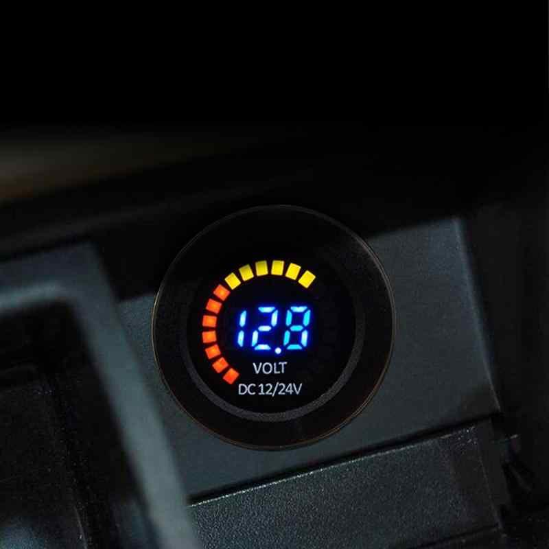 رائجة البيع الفولتميتر الكلاسيكية حساسة الملمس تيار مستمر 12 فولت 24 فولت سيارة دراجة نارية قارب 3 أرقام الفولتميتر مع الجهد المنخفض الجرس إنذار
