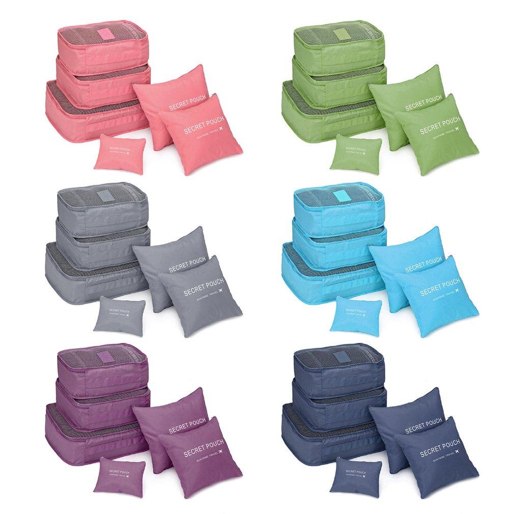 6 Pcs/set Nylon Packing Cubes Set Travel Bag Organizer Large Capacity Travel Bags Hand Luggage Clothing Sorting First Aid Kits