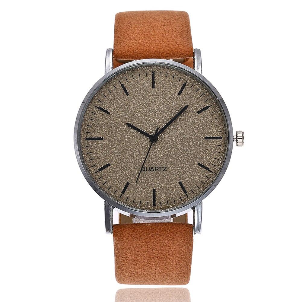 VANSVAR Unisex Men Women Matte Dial Wristwatch Leather Band Quartz Wrist Watch  EIG88