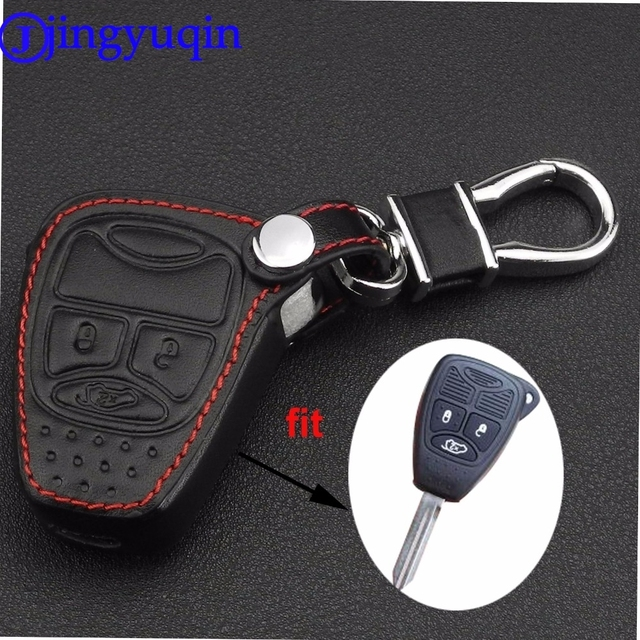 jingyuqin Remote 3 Buttons Car key Leather Case Fob Cover For Chrysler Jeep Dodge Ram Caliber Nitro Patriot Pacifica Liberty