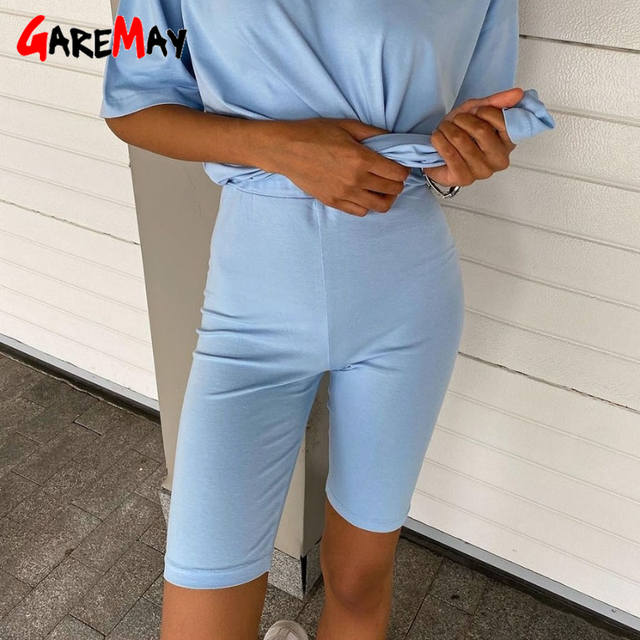 2021 Women's Shorts with High Waisted Casual Elastic White Cotton Slimming Sexy Super Summer Women Biker Shorts Cycling Black 1