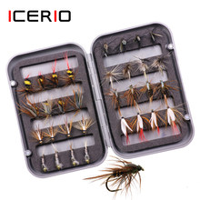 ICERIO 32 teile/schachtel Trout Fly Fishing Assorted Fliegen Kit Nymph Trocken Nass Fliegen Fischen Fly Lure Köder(China)