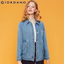 Giordano Women Jackets 100% Cotton Turn-down Collar Denim Jacket
