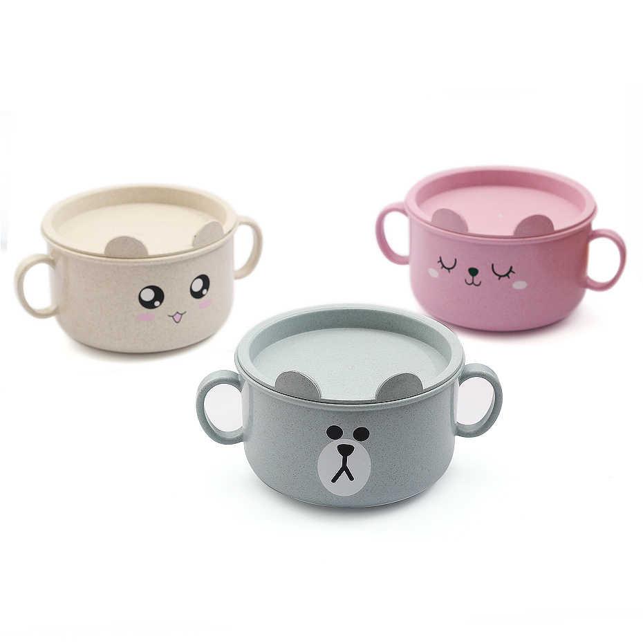 New Cute Baby Cartoon Feeding Bowl Animal 3 Colors And Children Tableware Non-skid Training Spoon Bear Kids Eating  Dinner Bowl