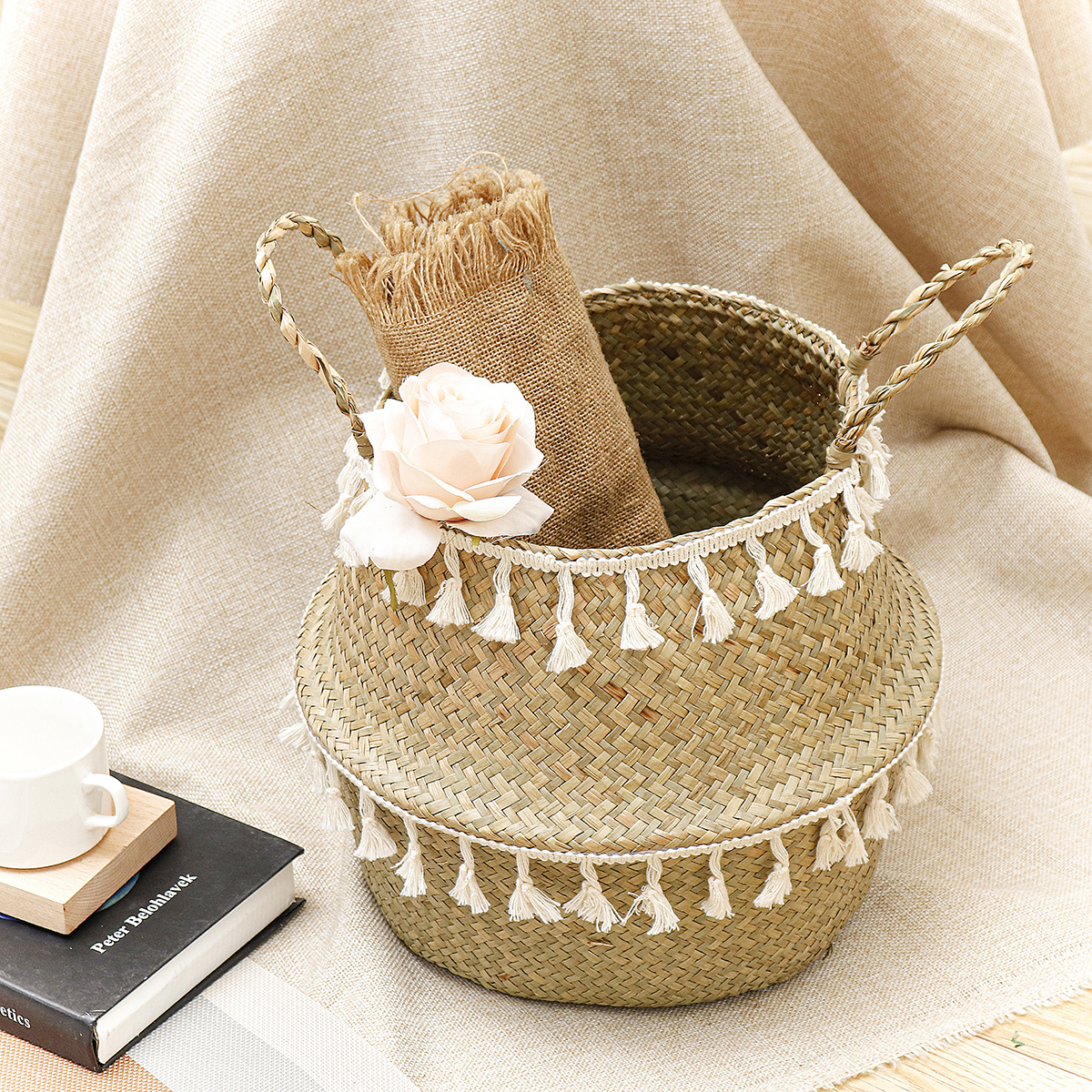 2020 Wicker Basket Seagrass Woven Storage Basket Plant Wicker Hanging Baskets Garden Flower Vase Potted Foldable Pot With Handle