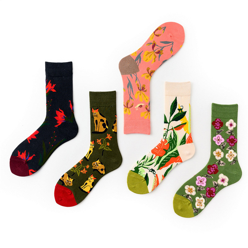 Quality Happy Funny Socks Combed Cotton Literary Hip-hop Sock Crew Casual Flower Cat Leaves Men Compression Socks