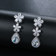 New Brand Gorgeous Charm White gold Color AAA Cubic Zircon Water Earrings for Women Popular Wedding Jewelry Gift emmaya new top white gold plate flower jewelry set aaa cubic zircon pendant earrings for women wedding jewelry sets