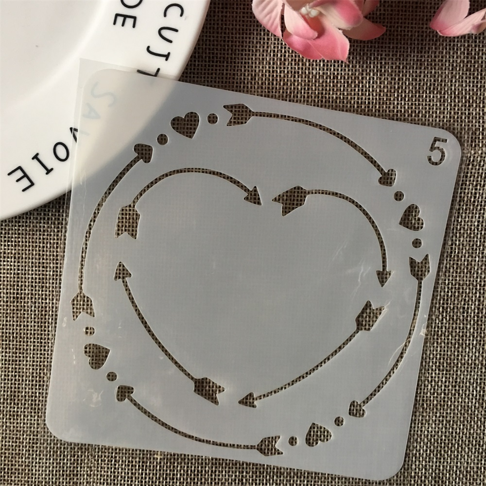 13cm Heart Circle Round DIY Layering Stencils Wall Painting Scrapbook Coloring Embossing Album Decorative Card Template