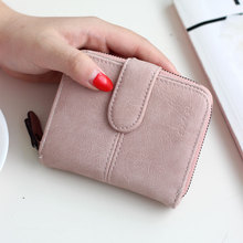 short ladies wallet fashion matte buckle zipper women bag PU  small wallets