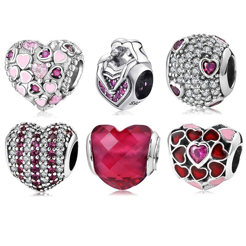 100% Аутентичные 925 стерлингового серебра в виде сердца, с украшением в виде кристаллов чистым цирконом, драгоценные бусины, подходят к оригин...
