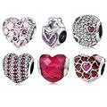 100% authentische 925 Sterling Silber Rosa herz kristall klar zirkon perlen Fit Original Europäischen Charme Armband Schmuck Machen