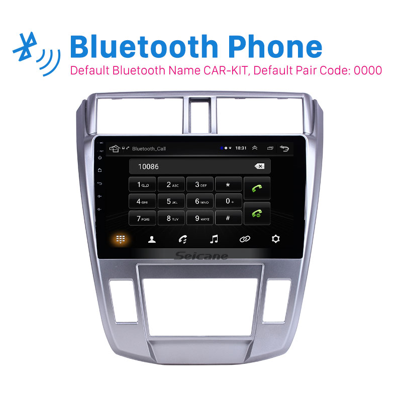 <font><b>Seicane</b></font> 10.1 inch car GPS Stereo Radio Android 9.1 for 2008-2013 <font><b>Honda</b></font> <font><b>City</b></font> Auto A/C 2.5D screen support Carplay Rear camera image