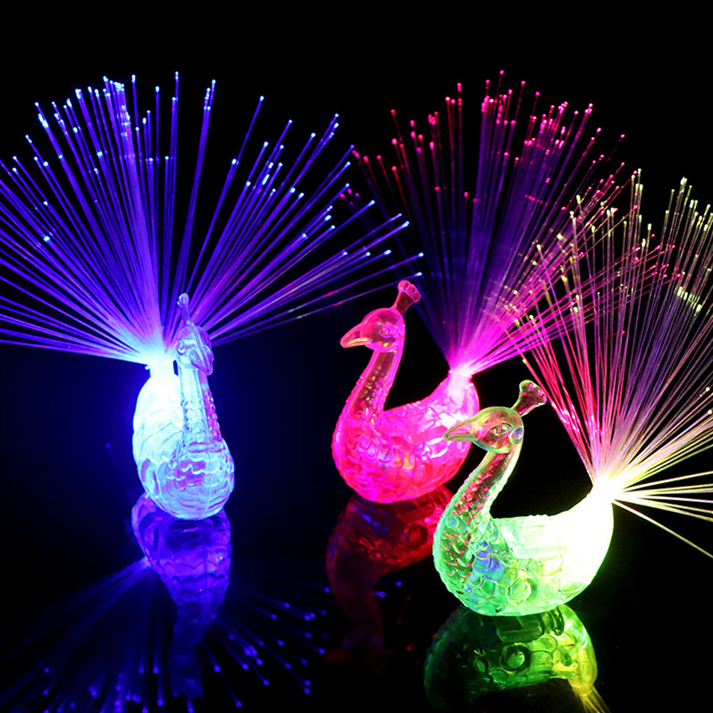 Glow In The Dark Kids Toy 1PCS Luminous Peacock Decoration Open Light Toys Flash LED Lights Stars Shine In The Dark Kids Toys E