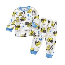 New Baby Kids Boys Cartoon Print Pajamas Outfits Set Long Sleeve Blouse Tops+Pants Sleepwear