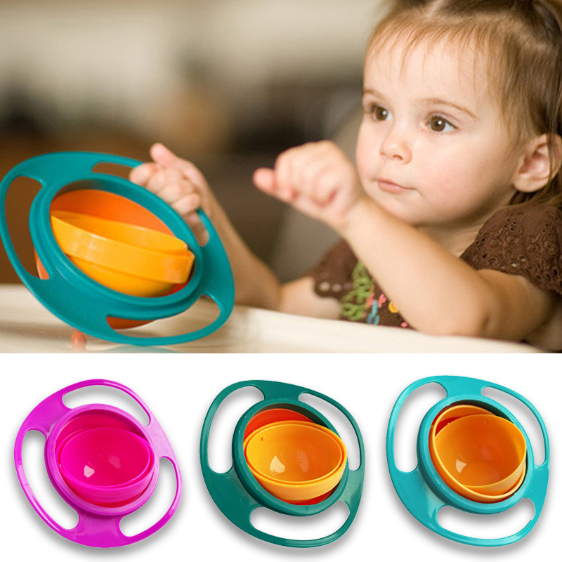 Gyro-Bowl Umbrella Balance Feeding-Dishes Spill-Proof Rotary Children Solid Novelty Universal