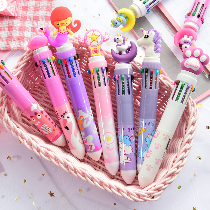 1pcs 10 Colors In 1 Ballpoint Pens Kawaii Multicolor Ball Pens Cute Unicorn Pens For Kids Gift School Office Supplies Stationery