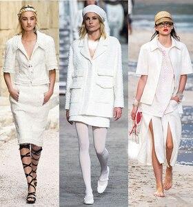 Image 5 - Pearlsilk טהור לבן טוויד צבע בגד חומרים בד אביב חליפת שמלת חצאית בגדי DIY בדים משלוח חינם