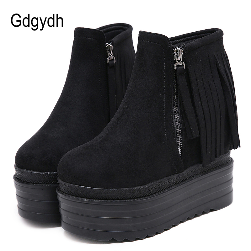 Gdgydh Fringe Tassel Wedge Boots Women Platform Shoes For Autumn Winter Round Toe Ankle Female Side Zipper Black Flock