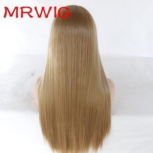 """Image 5 - Natural olhando marrom escuro 2 # natural em linha reta de alta qualidade 100% fibra do cabelo sintético peruca dianteira do laço laço suíço 3 4 """"fastshipping"""