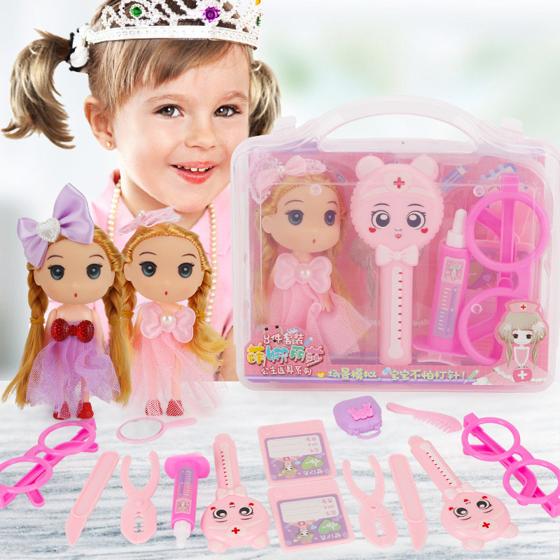 Warmom 9 Pcs Kids MakeUp Toy Set For Baby Girls Pretend Play Princess DIY Doll Dress Makeup Toys Nontoxic Blusher Children Gifts