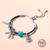 NEW 2018 New Hot Sale 925 sterling silver Black Leather Bracelet Gift Set For Women Adjustable Bracelet Charm DIY Jewelry
