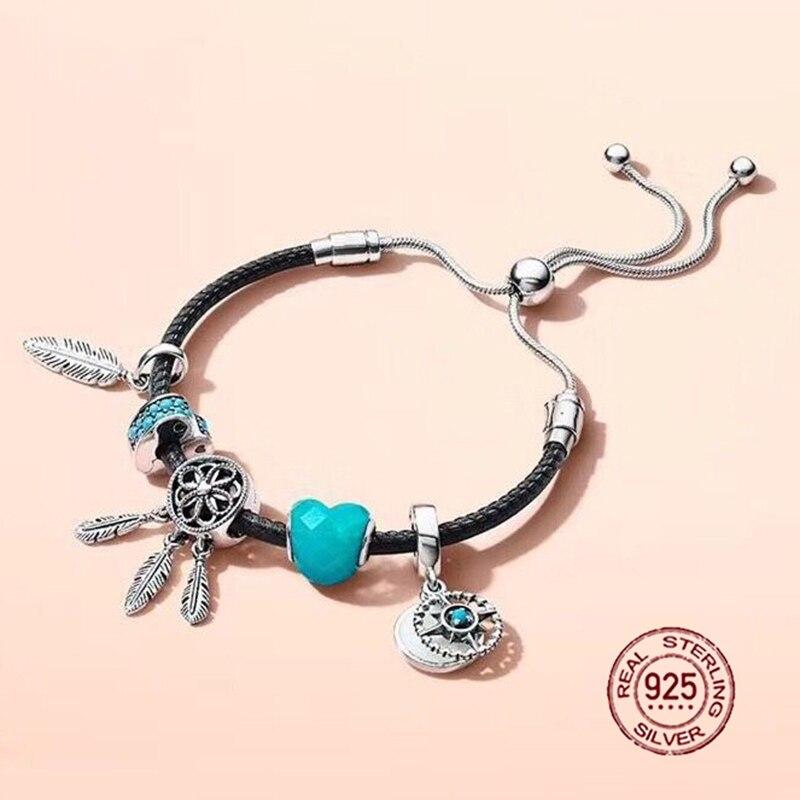 Nouveau 2018 nouvelle offre spéciale 925 en argent sterling noir Bracelet en cuir coffret cadeau pour les femmes réglable Bracelet breloque bijoux à bricoler soi-même