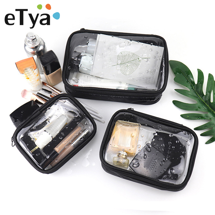 ETya PVC Transparent Cosmetic Bag Zipper Clear Makeup Bags For Women Washing Solid Travel Organizer Toiletry Bag