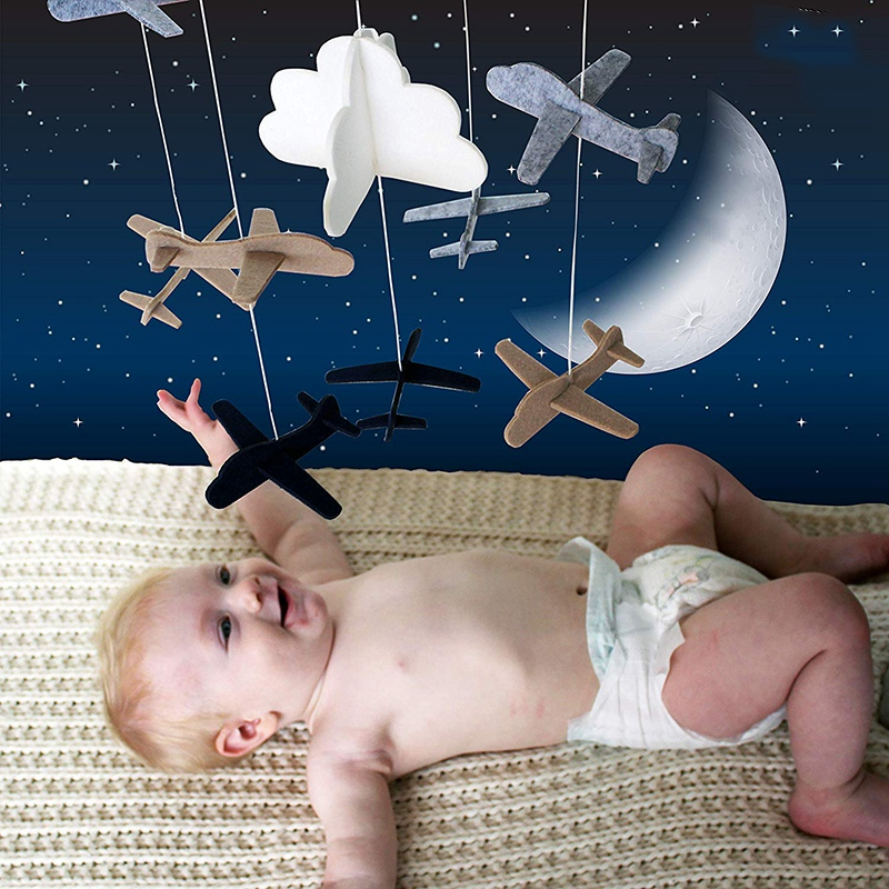 Crib Mobile Airplanes & Cloud Nursery Decoration Grey and White, Navy Blue, Tan Baby Crib Mobile for Boys