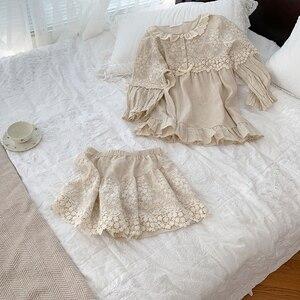 Image 5 - Summer Womens Lolita Flower Embroidery Pajama Sets Tops+Shorts.Vintage Ladies Girls Pyjamas set.Victorian Sleepwear Loungewear