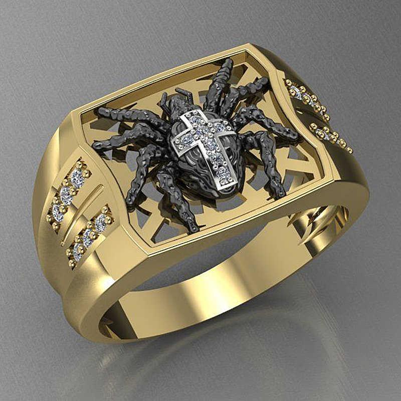 Gothic CROSS Creative Spider แหวนคลาสสิก GOLD Punk HIP POP ขายส่งเครื่องประดับของขวัญ zircon แหวนผู้ชายสำหรับสตรี