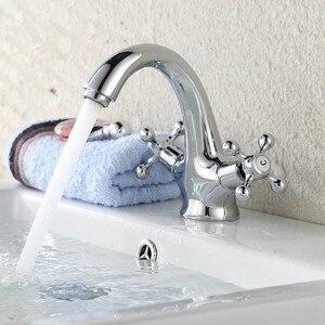 Image 4 - Antique Faucet  Hot and Cold Water Crane Bronze Brushed Sink Faucet Black Bathroom Swan Vintage Basin Sink Mixer Crane 7422