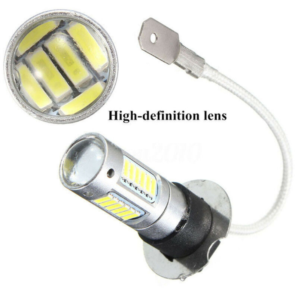 2Pcs H3 4014 25W 1100LM LED Car Fog DRL Light Bulb White DC 12V 6500K High Power