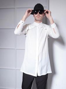 Shirt Men Collar Korean-Trend Long-Sleeved Fashion Men's Net Wear Chic Slim Red-Stand
