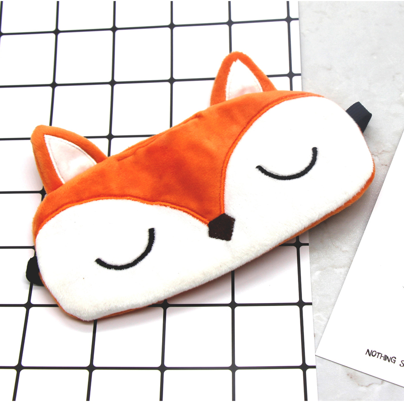 Plush Fox Sleep Eye Mask Cute Cartoon Eye Cover Sleeping Mask Kids  Eyeshade Travel Rest Eye Band Blindfolds Sleep Aid Eyepatch