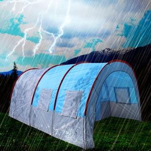 Image 5 - テントアウトドアキャンプ大キャンプテント防水キャンバスグラスファイバー 5 8 人家族トンネル 10 人のテント機器屋外